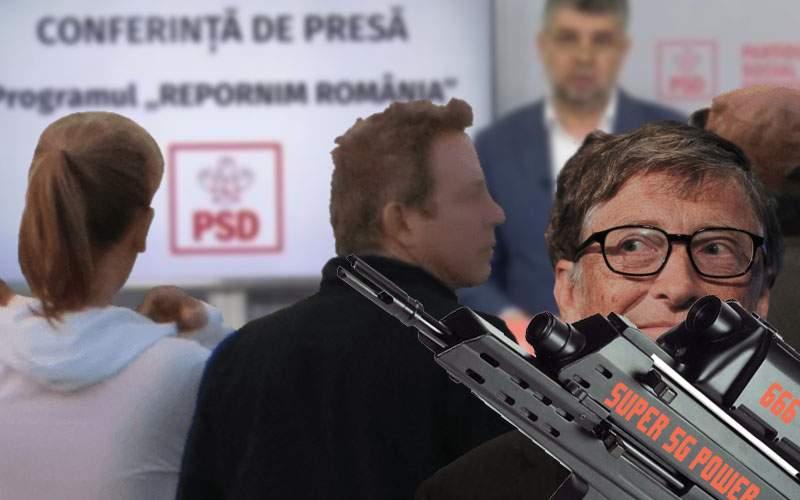 Leșinul lui Ciolacu se complică. În public a fost văzut Bill Gates cu o antenă 5G
