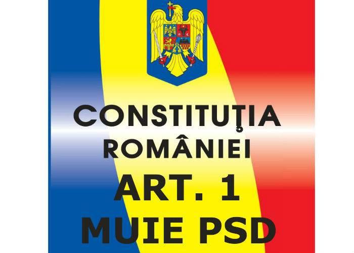 """Se strâng semnături pentru modificarea Constituţiei. Articolul 1 va fi completat cu """"MUIE PSD"""""""