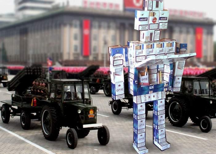 Coreea de Nord a început construcția primului cyborg militar din pachete de țigări goale