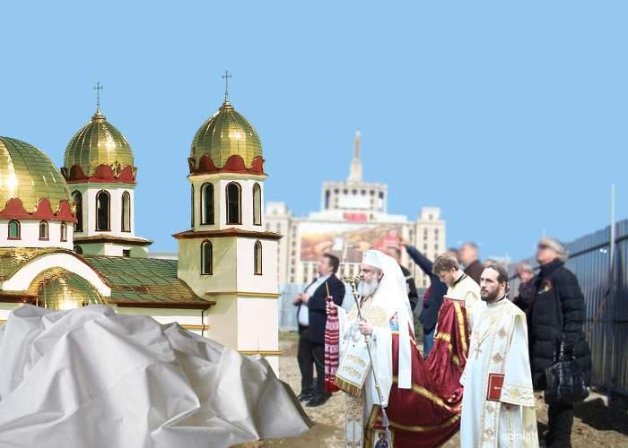 Surpriză la dezvelirea monumentului din Piaţa Presei! Sub prelată era tot o biserică