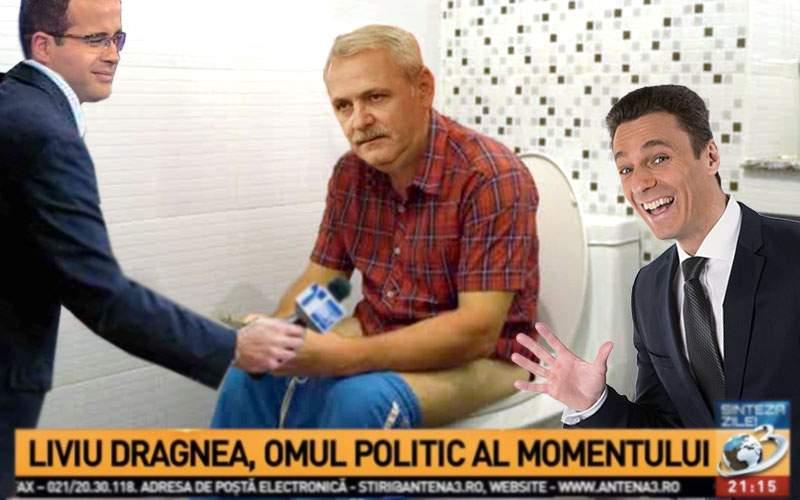 Antena3, amplu interviu cu Dragnea din baie, unde presa soroşistă n-are curaj să intre