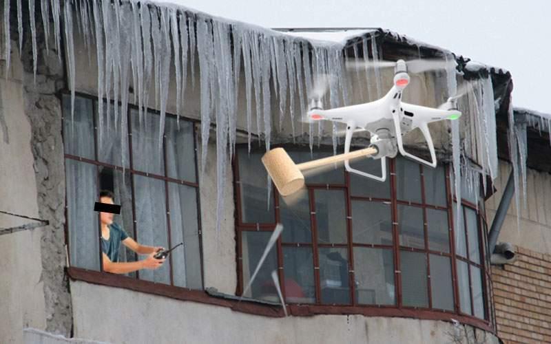 Un inventator român a creat o dronă cu care dă jos ţurţurii de pe clădiri