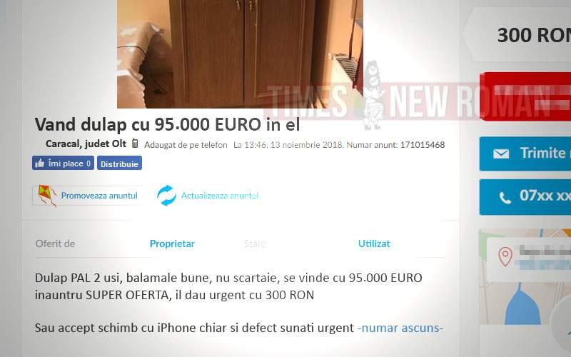 Disperat să vândă un dulap pe OLX, un caracalean a băgat 95.000 euro în el