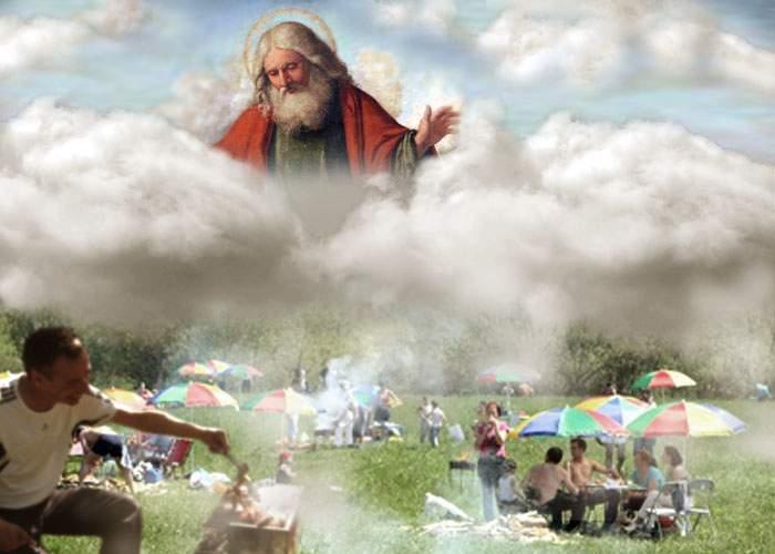"""Dumnezeu explică de ce strică vremea în fiecare weekend: """"Nu mai suport fumul vostru de mici"""""""