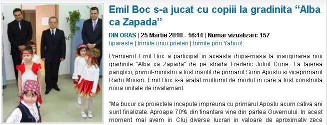 Emil Boc a încercat să se înscrie la grădiniţă
