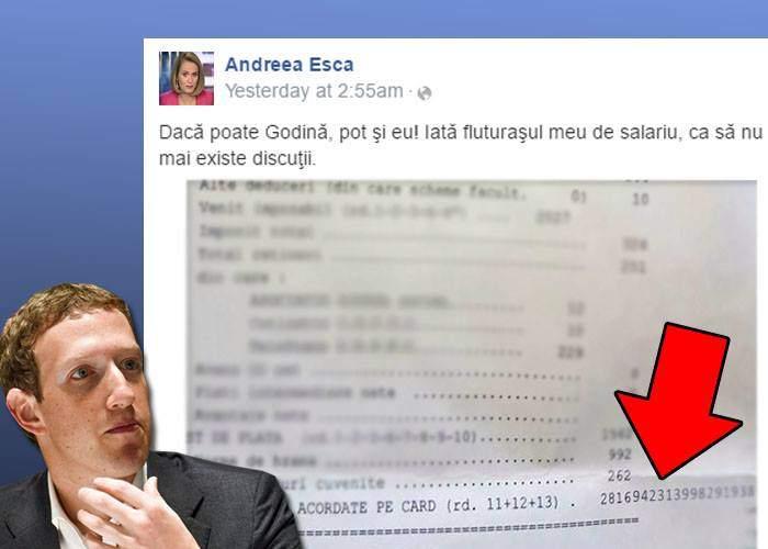 Inspirată de Godină, Esca și-a pus fluturașul de salariu pe Facebook. Invidios, Zuckerberg i-a șters postarea