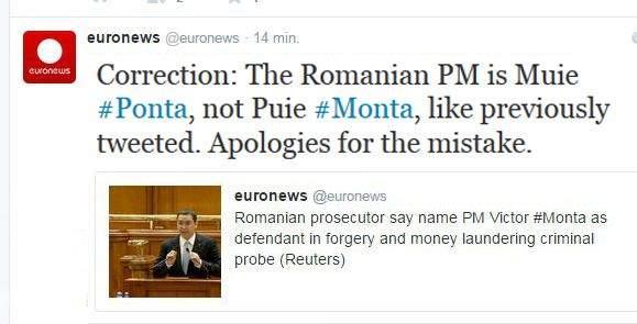 "Euronews își cere scuze pentru gafa cu Monta: ""Am greșit! Corect e M*ie Ponta, nu Puie Monta!"""