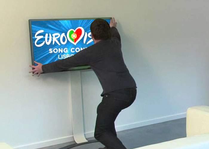 Eşec istoric al delegaţiei României la Eurovision: televizoarele din hotel sunt prinse în perete