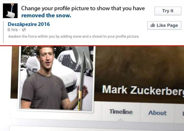 Laudă-te în voie! Acum Facebook îți permite să-ți pui o lopată de zăpadă la poza de profil