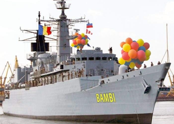 Fregata Bambi, adusă la Mangalia pentru o defecţiune la lansatorul de baloane colorate