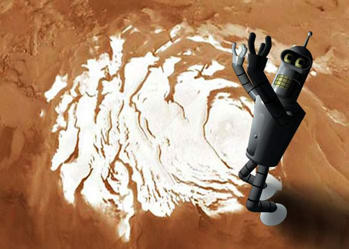 Robotul românesc de pe Marte a găsit zăpadă şi acum pretinde că e defect, ca să nu fie pus s-o cureţe