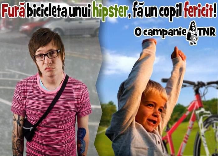 """Campanie socială marca TNR: """"Fură bicicleta unui hipster şi fă un copil fericit!"""""""