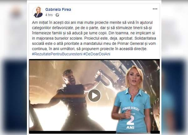 Pentru că nu se uita nimeni la filmuleţele ei cu realizări, Firea a postat pe Facebook ultimul Avengers