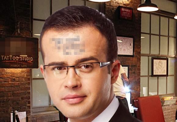 Poza zilei! Mihai Gâdea l-a surprins pe Voiculescu cu un mesaj inedit tatuat pe frunte
