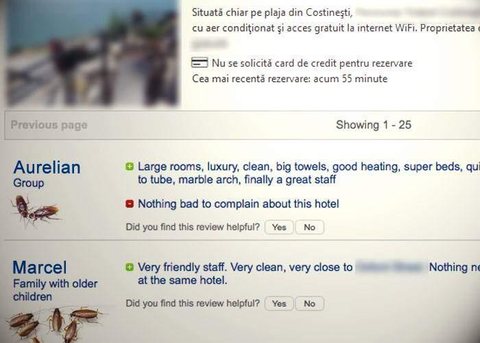 Mai bine de jumătate din review-urile de pe Booking ale hotelurilor româneşti sunt scrise de gândaci