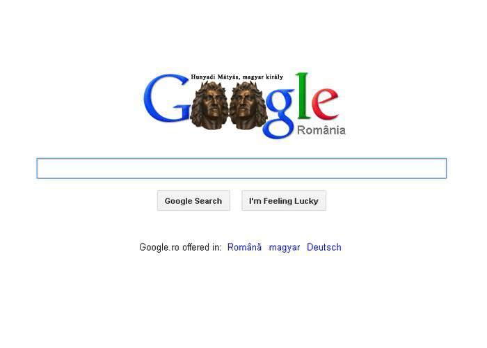 Foto! Google România celebrează azi 555 de ani de la numirea lui Matei Corvin pe tronul Ungariei