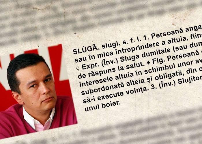 """Emil Boc răsuflă ușurat! La cuvântul """"slugă"""" din DEX nu mai apare poza lui, ci a lui Grindeanu"""