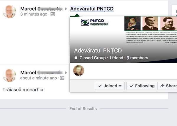 Pe Facebook există un grup cu doar 3 membri, numit PNŢCD, care nu lasă pe nimeni să intre