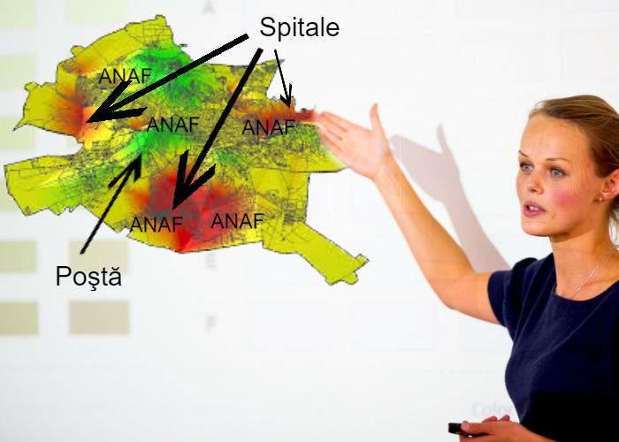 Harta fricii în Bucureşti. Cele mai evitate zone sunt sediile ANAF, Poşta şi spitalele