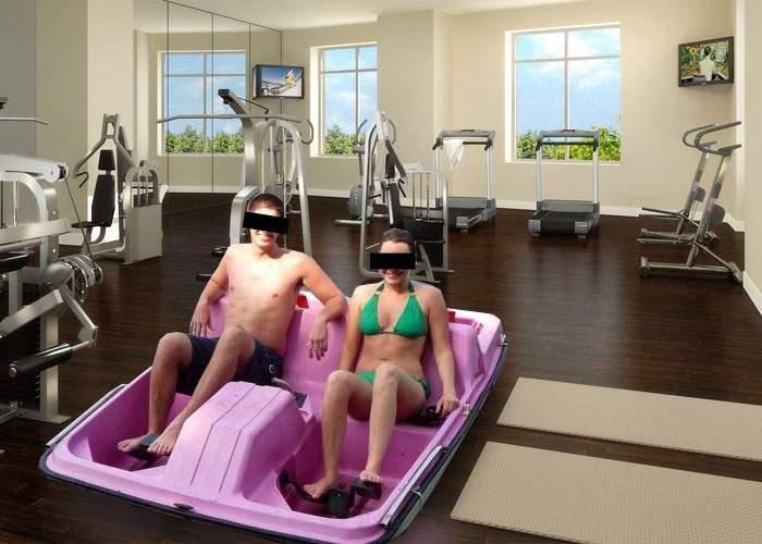 Foto! O sală de fitness din Bucureşti a lansat prima hidrobicicletă medicinală