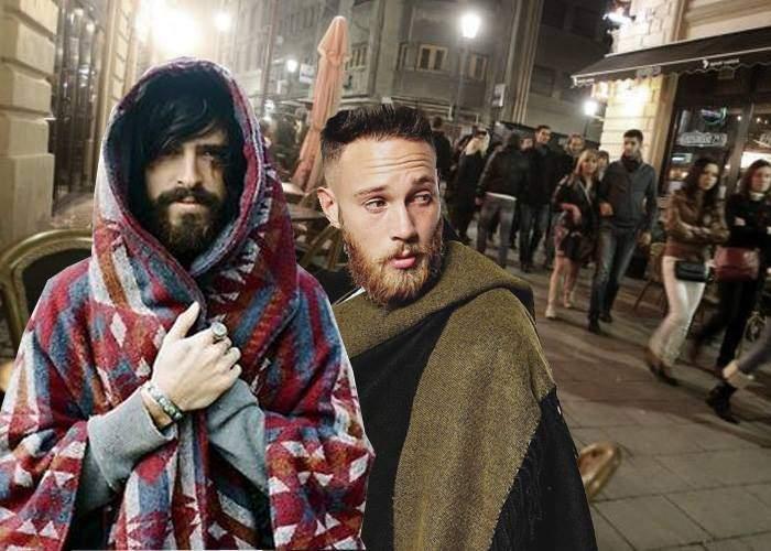 Doi hipsteri înveliți cu pături, confundați cu boschetari, ridicați de pe o terasă și duși la secție