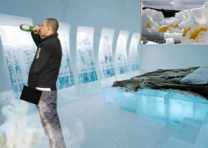 Căzut sub jet! Un turist beat s-a pișat pe perete în hotelul de gheață de la Bâlea și l-a topit
