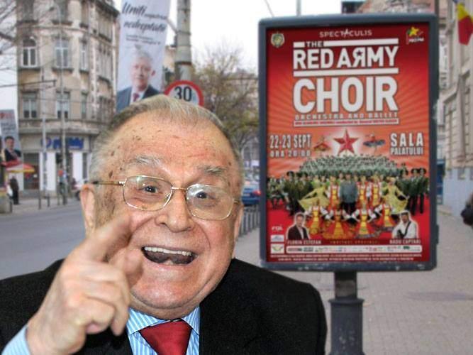 Ion Iliescu și-a luat țeapa vieții cu afișele Red Army Choir: s-a extaziat că ne ocupă iar rușii!