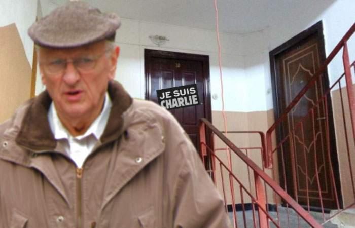 """Și-a pus """"Je suis Charlie"""" pe ușă, iar administratorul de bloc i-a mai pus un om la întreținere"""