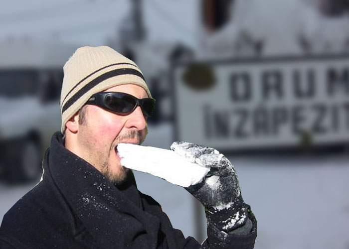 Nu doar vești rele! Ninsoarea e mană cerească pentru snow-vegani, românii care mănâncă doar zăpadă