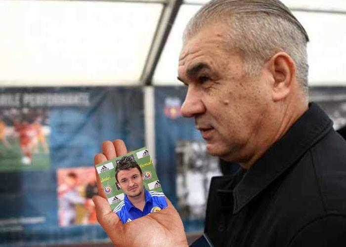 Succes din greșeală? În loc de iconițe, Tata Puiu a pupat tot meciul un cartonaș Panini cu Budescu