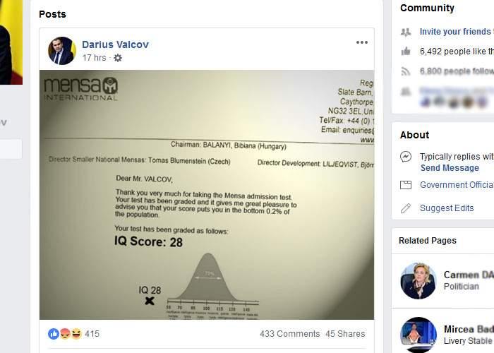 Ca să justifice publicarea fișei medicale, Darius Vâlcov a postat pe Facebook și fișa cu IQ-ul personal: are 28
