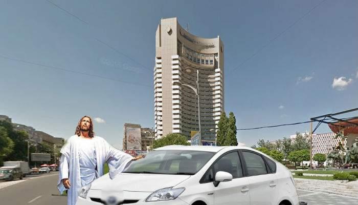 S-a întors Isus? Un şofer a lăsat pe altul să se bage pe banda lui, în centrul Bucureştiului