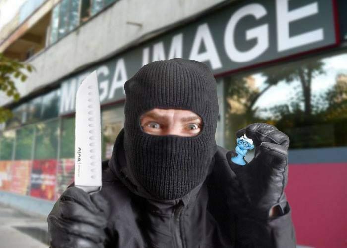 Ironic. Un român a furat zeci de ştrumfi dintr-un Mega sub ameninţarea cuţitului luat la fosta promoţie!
