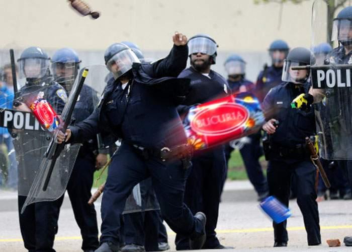 Unioniştii, acuzaţi de brutalitate: în loc de pietre, au aruncat în jandarmi cu bomboane Bucuria