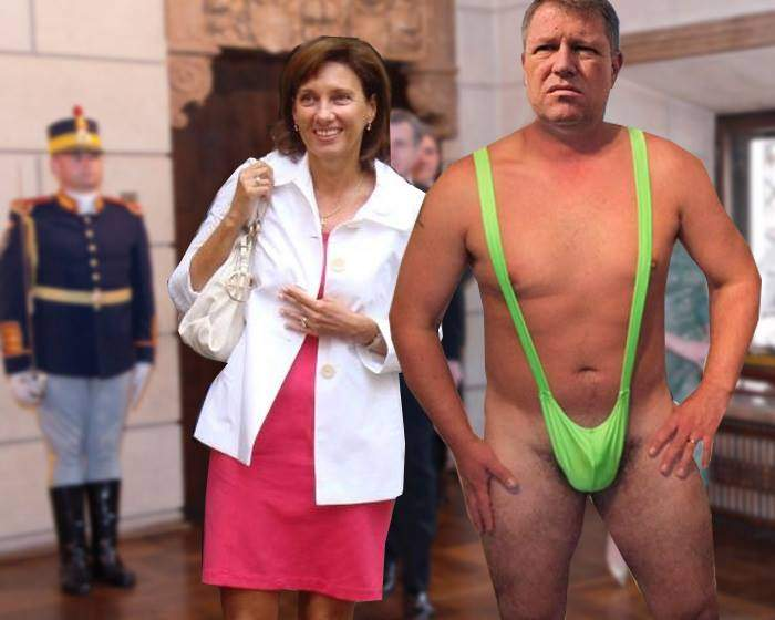 Pentru a distrage atenția de la fusta soției, Klaus Iohannis a venit la un dineu în chiloți