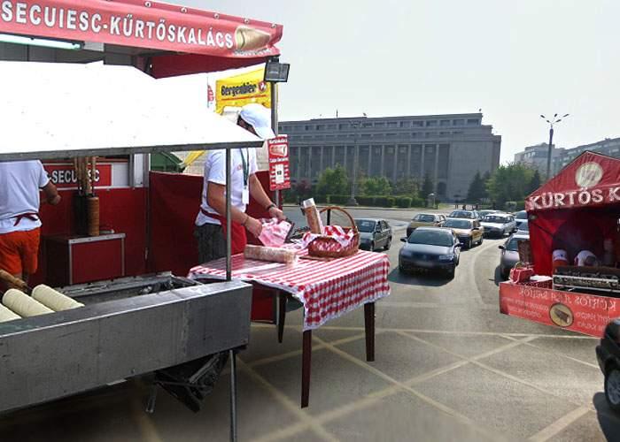 UDMR a intrat în Guvern! Zeci de gherete cu kürtőş nou apărute încurcă traficul în Piaţa Victoriei