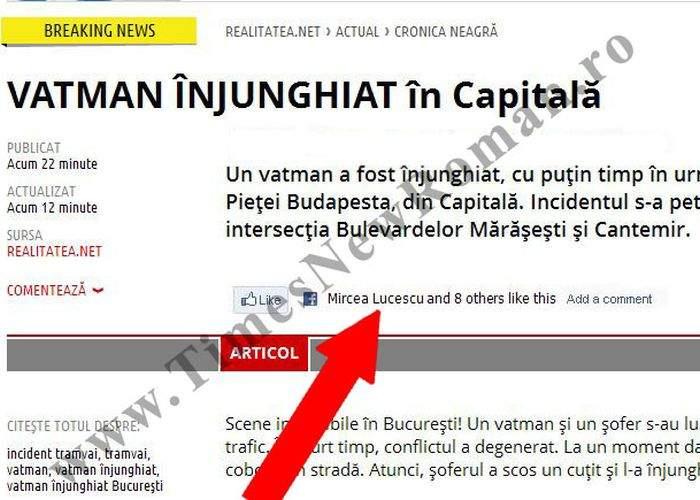 Vatman înjunghiat în Capitală! Vezi reacţia lui Mircea Lucescu de pe Facebook