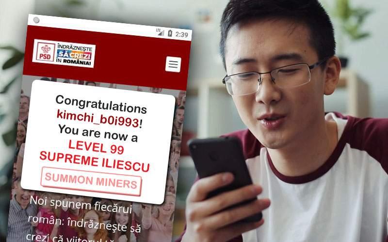 O zi de la lansarea aplicaţiei PSD! Un coreean e deja Level 99, mai tare decât Dragnea