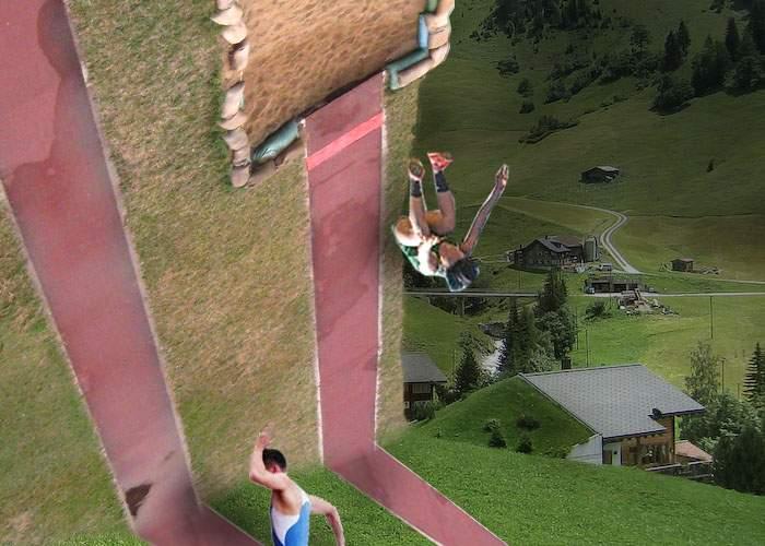 Din lipsă de spaţiu, echipa de sărituri în lungime a Liechtensteinului se antrenează pe înălţime