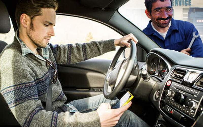 Un şofer care făcea Live la volan a intrat cu maşina într-un service şi l-au uscat de bani