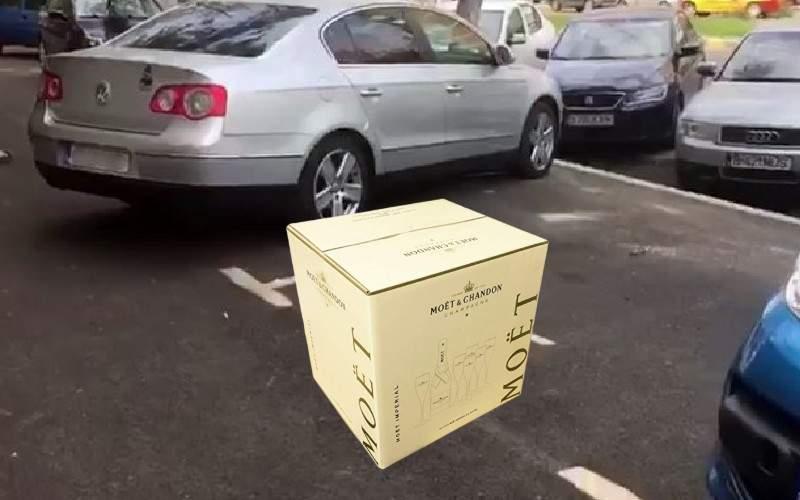 Un nabab şi-a blocat locul de parcare cu o ladă de Moët