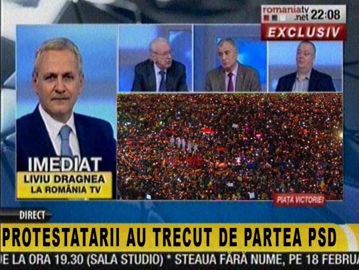 Manipulare! RTV a dat doar roșul din tricolor și a anunțat că protestatarii au trecut de partea PSD