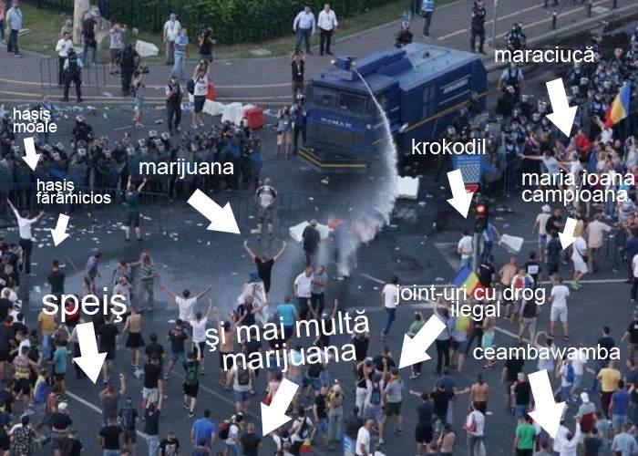 Jandarmeria susţine că nici măcar n-a dat cu gaz lacrimogen: Protestatarii aveau ochii roşii de la marijuana