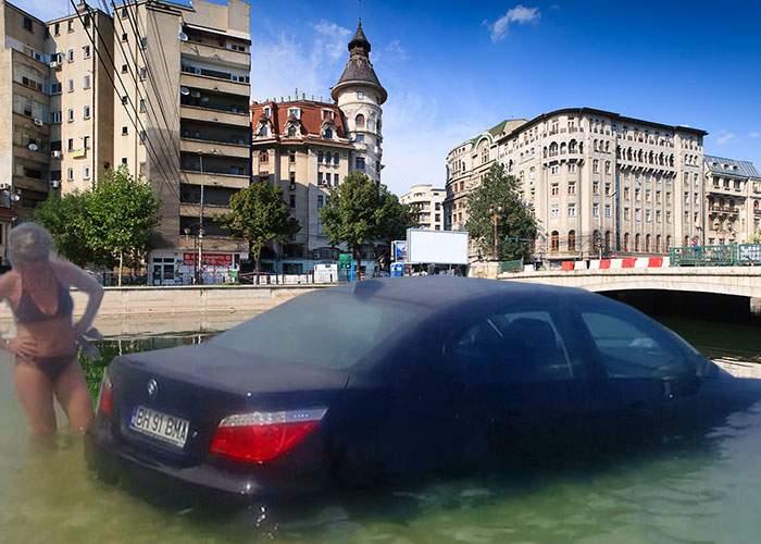 În Bucureşti a apărut o plajă artificială pentru cei care vor să intre cu BMW-ul pe nisip