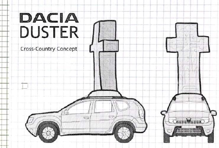 Gata cu cruciulițele în parbriz! Dacia va fabrica un automobil în formă de cruce