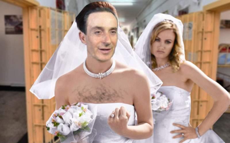 Gafă! Radu Mazăre şi iubita lui au venit amândoi îmbrăcați în rochie de mireasă la nuntă
