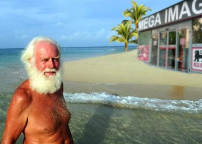 Marinar naufragiat acum 20 de ani, bucuros că pe insula lui pustie s-a deschis un Mega Image