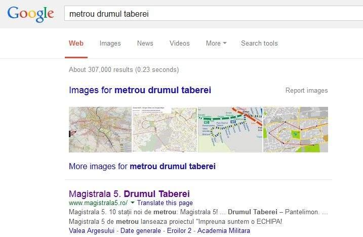"""Google își cere scuze pentru că returnează 307.000 rezultate la căutarea """"metrou Drumul Taberei"""""""