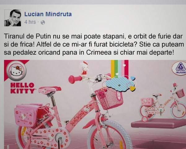 Orbit de ură față de ruși! După ce a rămas fără bicicletă, Mîndruță îl acuză pe Putin că i-a furat-o