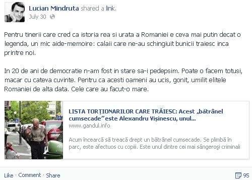 Procesul lui Vişinescu a fost anulat, după ce Lucian Mîndruţă s-a antepronunţat pe Facebook